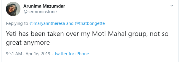 Twitter's review on Moti Mahal Group