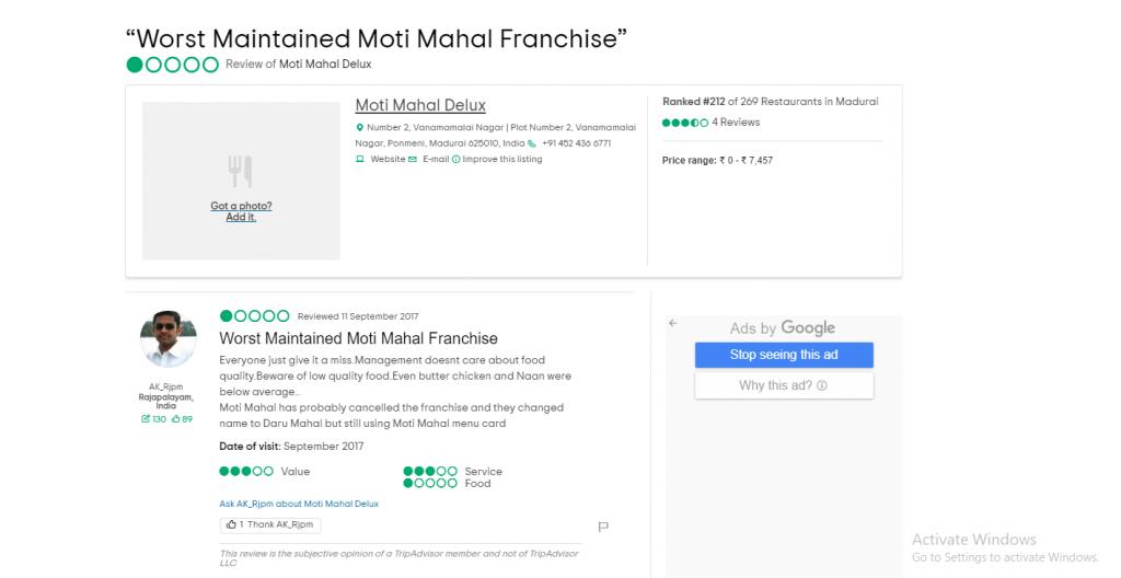 Moti Mahal Group Franchise Reviews